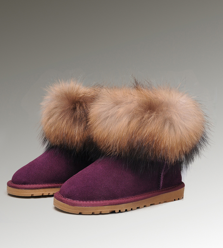 UGG Fox Fur Mini 5854 Red Boots